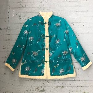 Jackets & Blazers - 1960's Asian Silk Jacket with Shearling Lining